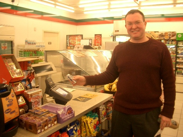 Michael Shopping with our Mobile Wallet on February 7, 2007